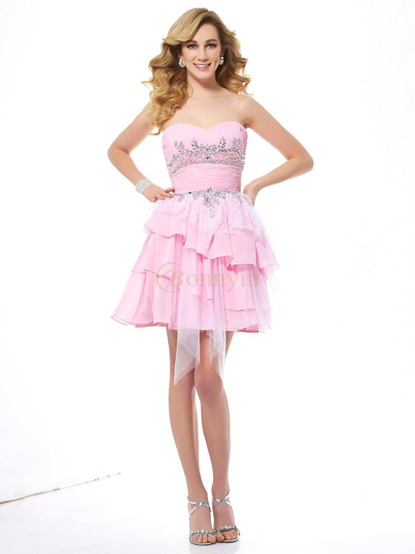 Pink Chiffon Net Sweetheart A-Line/Princess Short/Mini Cocktail Dresses