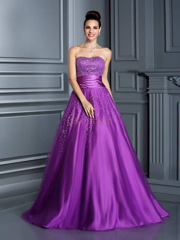 Regency Satin Sweetheart Ball Gown Floor-Length Prom Dresses