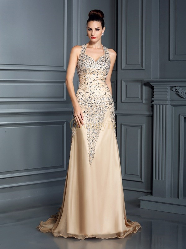 Champagne Chiffon Straps A-Line/Princess Court Train Dresses