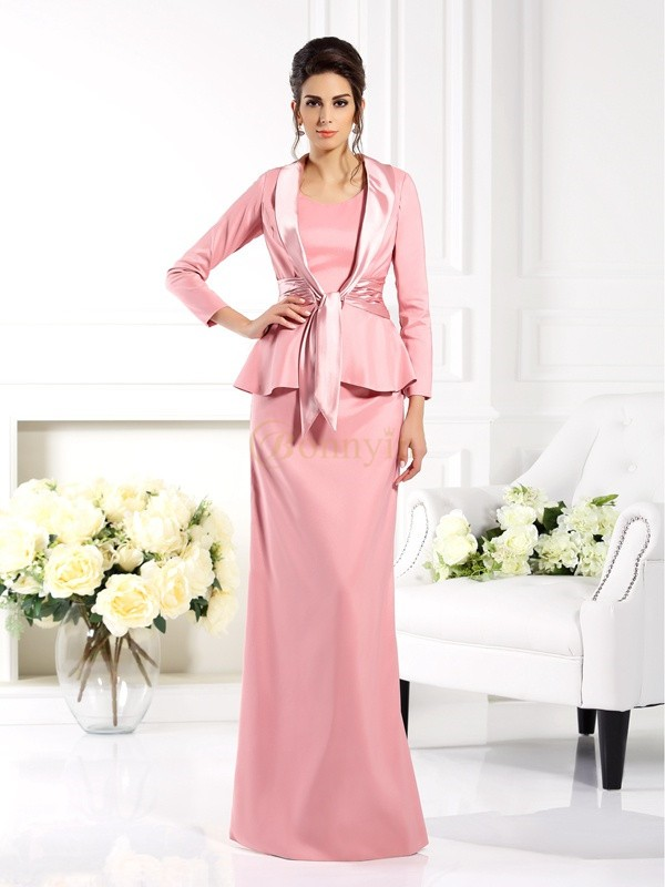 Pink Elastic Woven Satin Square Sheath/Column Floor-Length Mother of the Bride Dresses
