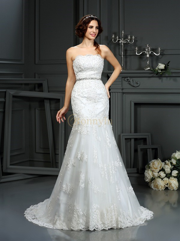 Ivory Lace Strapless Trumpet/Mermaid Court Train Wedding Dresses