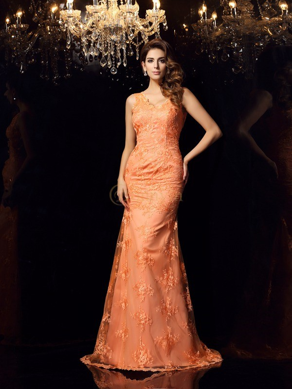 Orange Satin Straps Trumpet/Mermaid Sweep/Brush Train Dresses