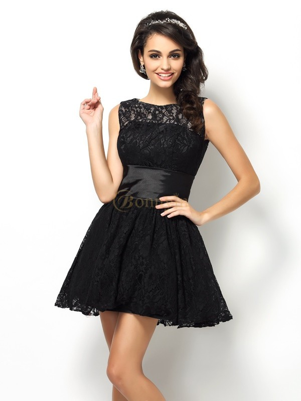 Black Lace Bateau A-Line/Princess Short/Mini Dresses