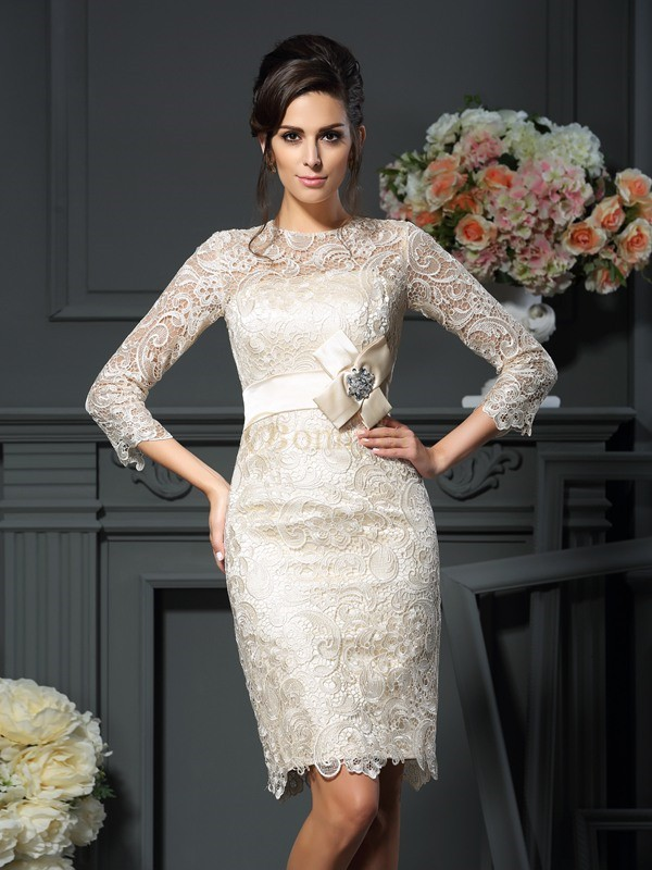 Champagne Lace Scoop Sheath/Column Short/Mini Mother of the Bride Dresses