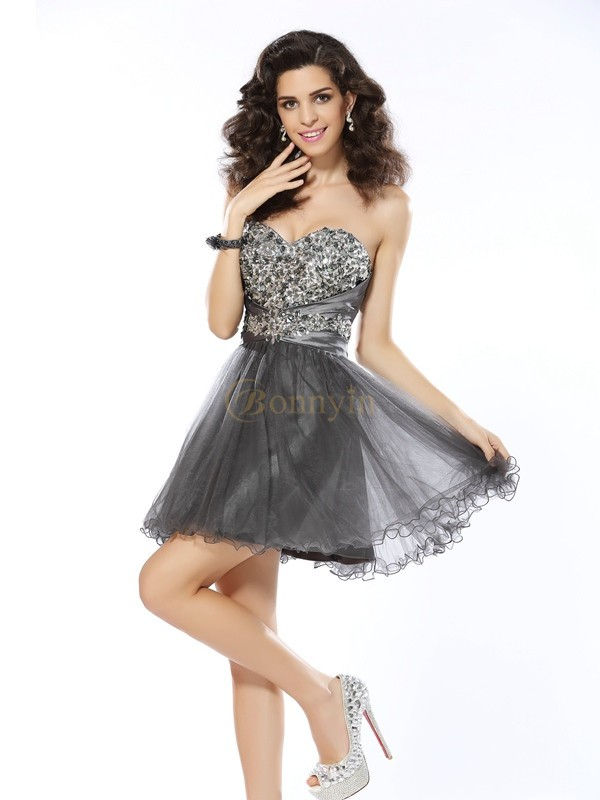 Silver Net Sweetheart A-Line/Princess Short/Mini Dresses