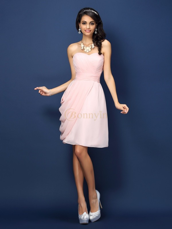 Pearl Pink Chiffon Sweetheart Sheath/Column Short/Mini Bridesmaid Dresses