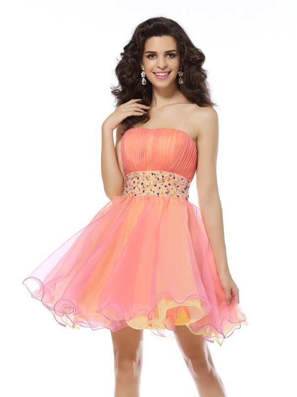 Pink Organza Strapless A-Line/Princess Short/Mini Dresses