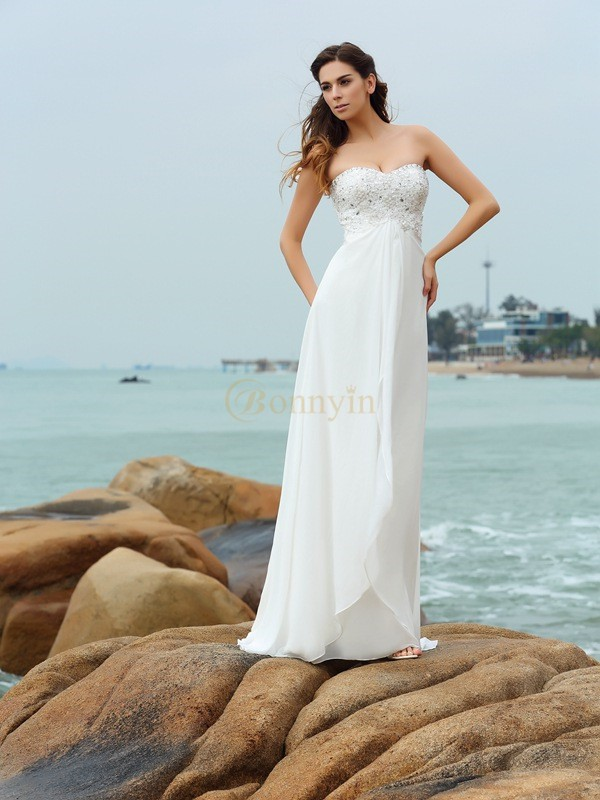 Ivory Chiffon Sweetheart A-Line/Princess Floor-Length Wedding Dresses