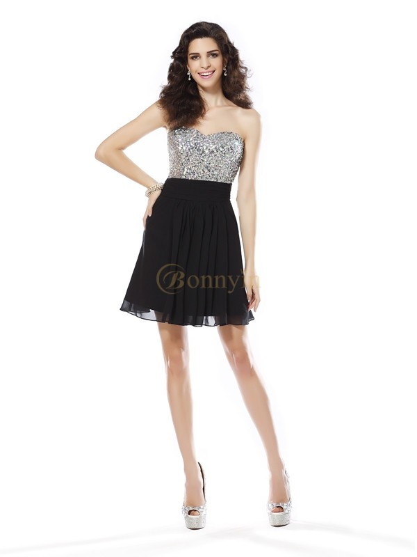 Black Chiffon Sweetheart A-Line/Princess Short/Mini Dresses