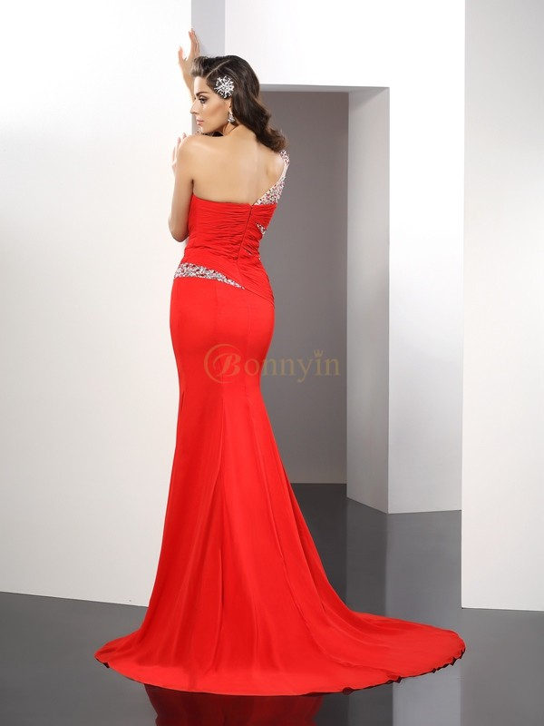 Red Chiffon One-Shoulder Sheath/Column Sweep/Brush Train Dresses