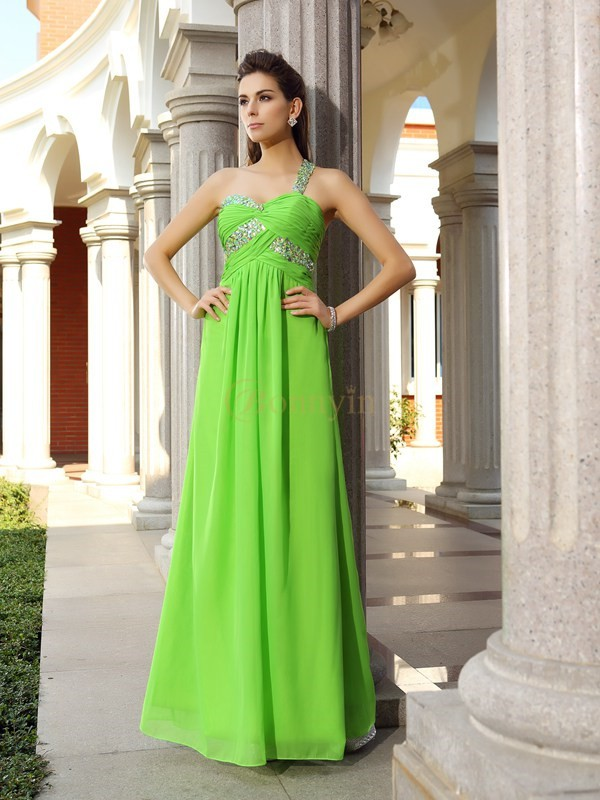 Green Chiffon One-Shoulder Sheath/Column Floor-Length Dresses