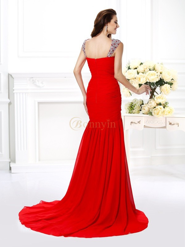 Red Chiffon Straps Trumpet/Mermaid Sweep/Brush Train Evening Dresses