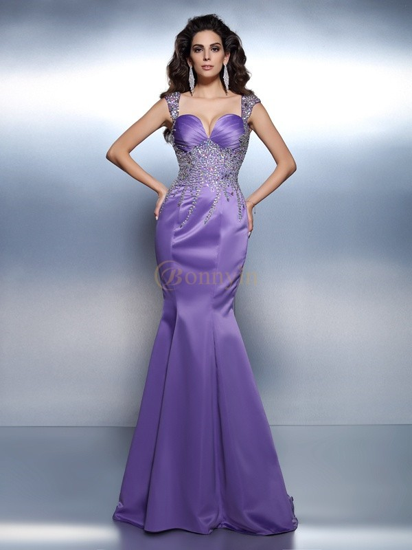 Lavender Satin Sweetheart Trumpet/Mermaid Sweep/Brush Train Dresses