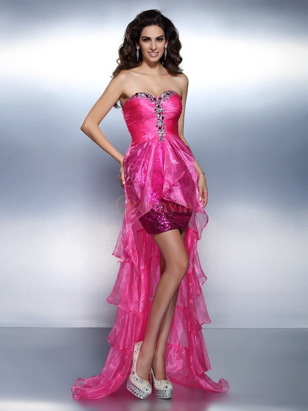 Fuchsia Organza Sweetheart Sheath/Column Asymmetrical Dresses