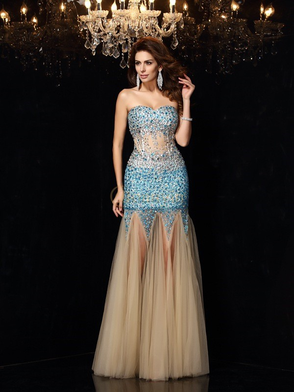 Champagne Net Sweetheart Sheath/Column Floor-Length Dresses
