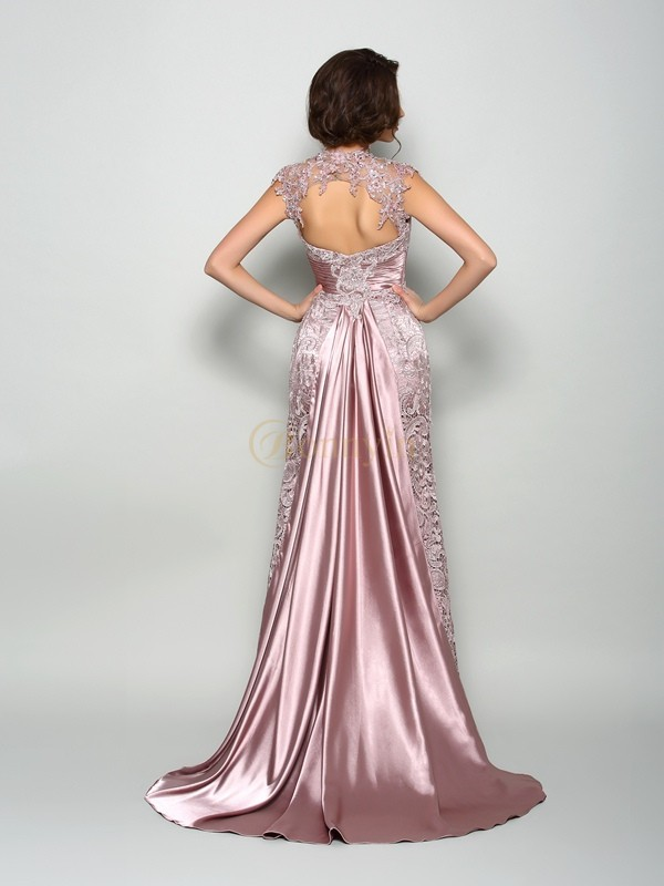 Brown Elastic Woven Satin High Neck A-Line/Princess Court Train Mother of the Bride Dresses