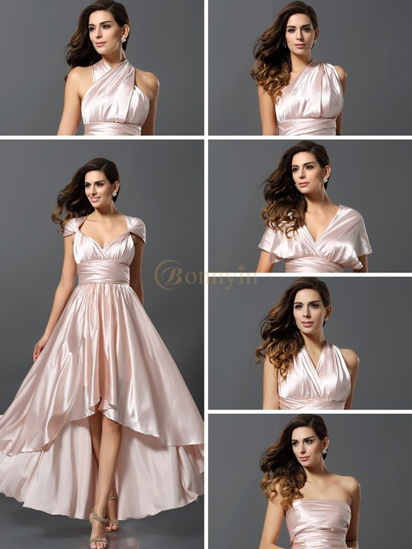 Champagne Silk like Satin Sheath/Column Asymmetrical Bridesmaid Dresses