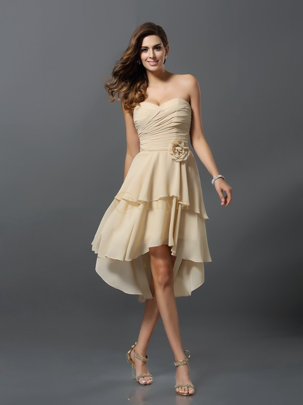 Champagne Chiffon Sweetheart A-Line/Princess Asymmetrical Bridesmaid Dresses