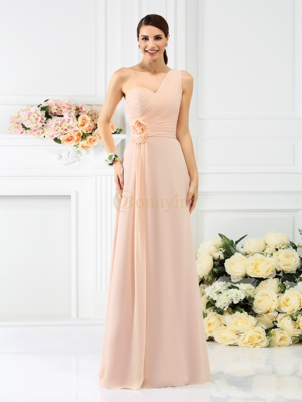 Pearl Pink Chiffon One-Shoulder A-Line/Princess Floor-Length Bridesmaid Dresses
