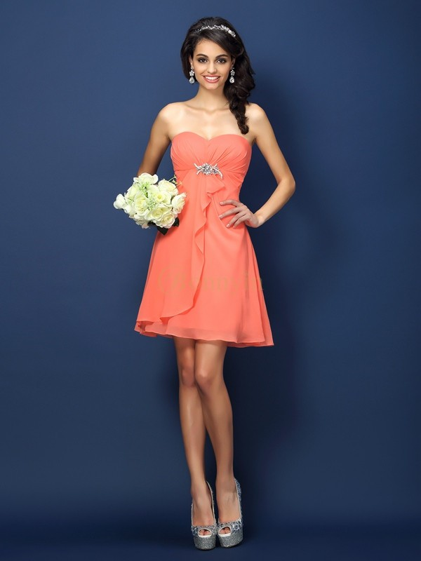 Watermelon Chiffon Sweetheart A-Line/Princess Short/Mini Bridesmaid Dresses