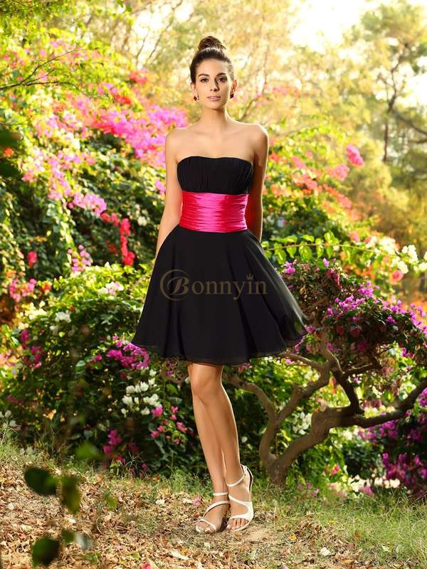 Black Chiffon Sweetheart A-Line/Princess Short/Mini Bridesmaid Dresses