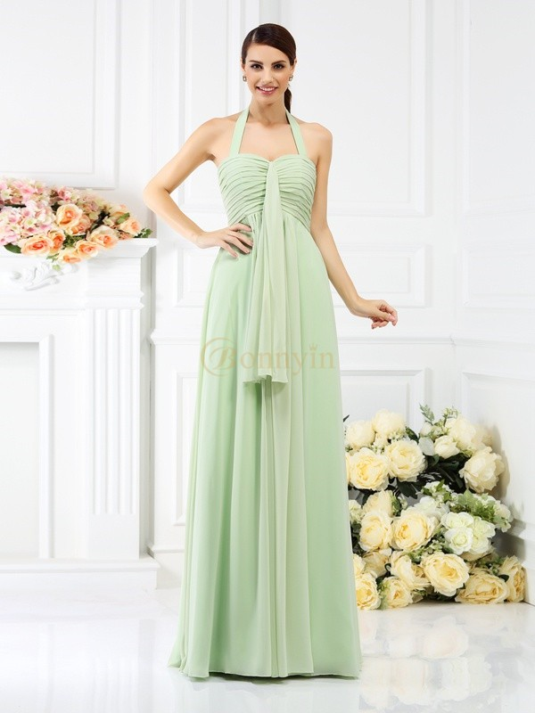 Sage Chiffon Halter A-Line/Princess Floor-Length Bridesmaid Dresses