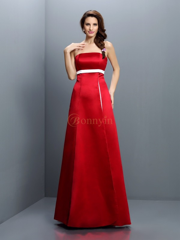 Red Satin Strapless A-Line/Princess Floor-Length Bridesmaid Dresses