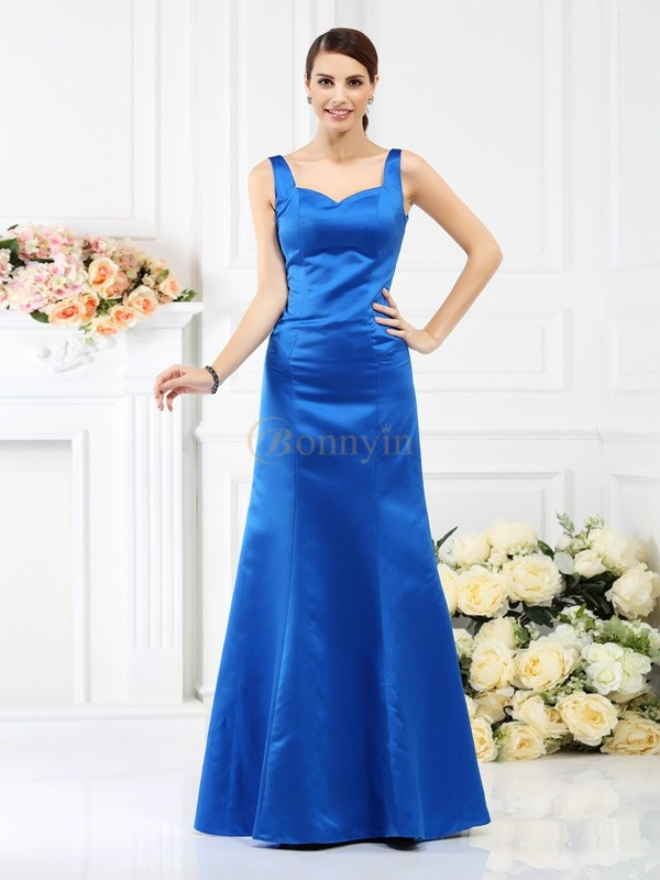 Royal Blue Satin Straps Sheath/Column Floor-Length Bridesmaid Dresses