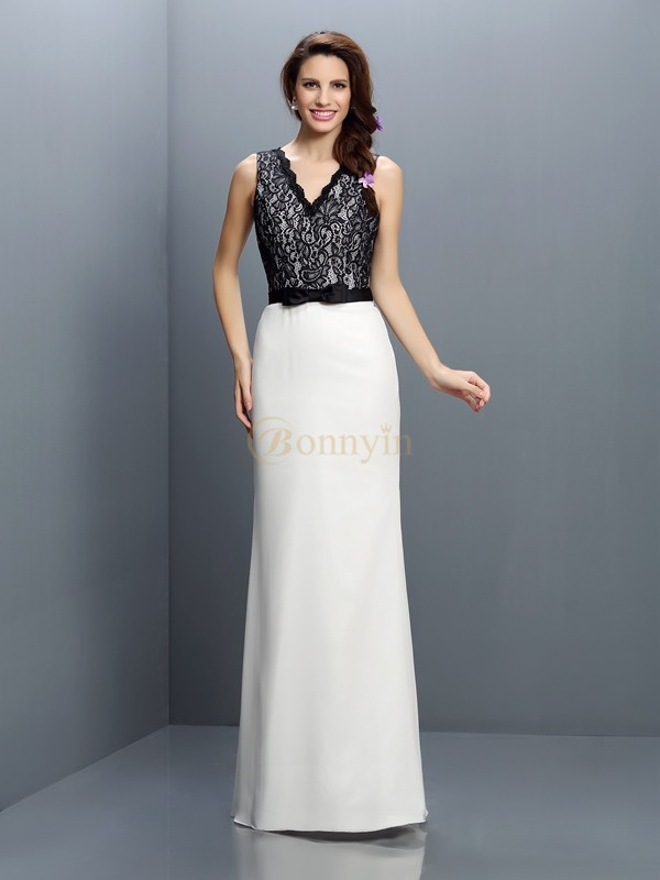 Ivory Chiffon V-neck Sheath/Column Floor-Length Bridesmaid Dresses