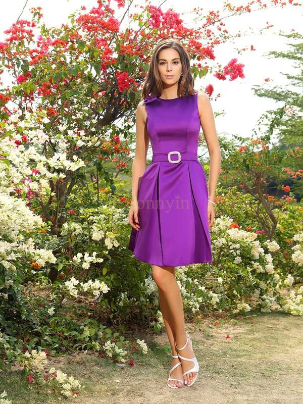 Grape Satin Scoop A-Line/Princess Knee-Length Bridesmaid Dresses