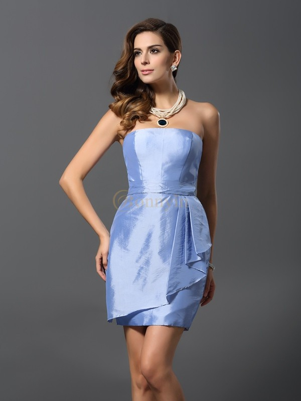 Light Sky Blue Taffeta Strapless Sheath/Column Short/Mini Bridesmaid Dresses