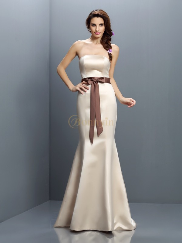 Champagne Satin Strapless Trumpet/Mermaid Sweep/Brush Train Bridesmaid Dresses