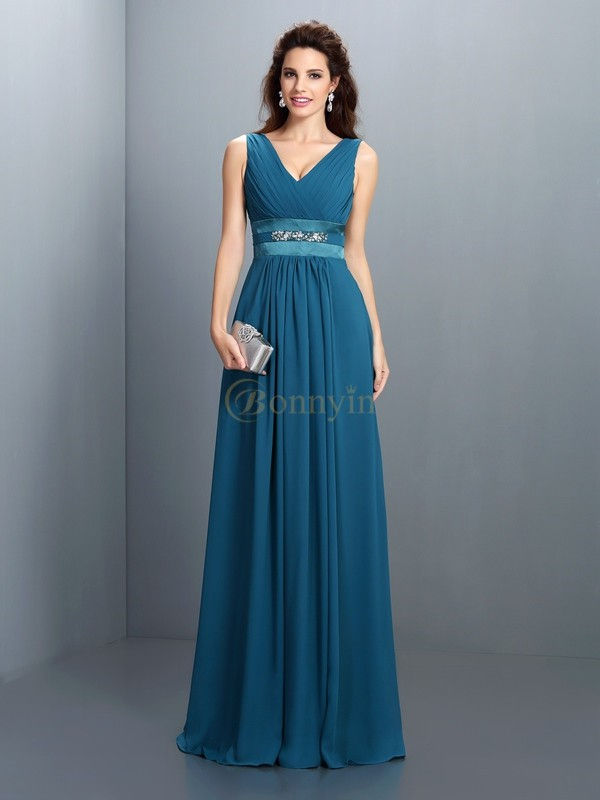 Dark Green Chiffon V-neck A-Line/Princess Floor-Length Bridesmaid Dresses