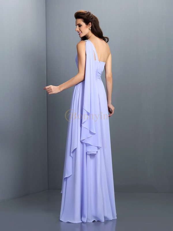Lavender Chiffon One-Shoulder A-Line/Princess Floor-Length Bridesmaid Dresses