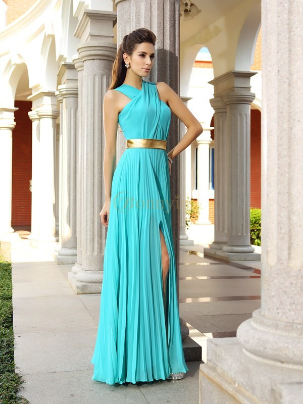 Blue Chiffon A-Line/Princess Floor-Length Dresses