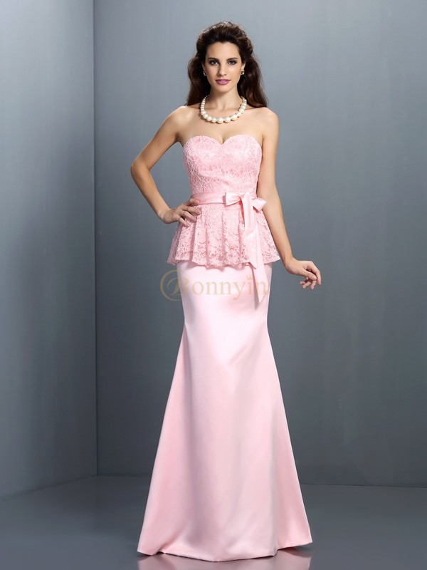 Pink Satin Sweetheart Trumpet/Mermaid Floor-Length Bridesmaid Dresses
