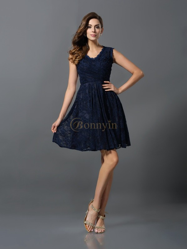Dark Navy Satin V-neck A-Line/Princess Short/Mini Bridesmaid Dresses