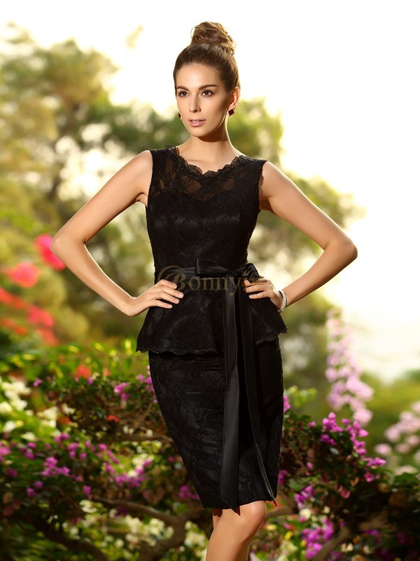 Black Satin Scoop Sheath/Column Knee-Length Bridesmaid Dresses