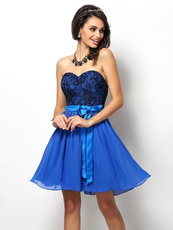 Royal Blue Chiffon Sweetheart A-Line/Princess Short/Mini Bridesmaid Dresses