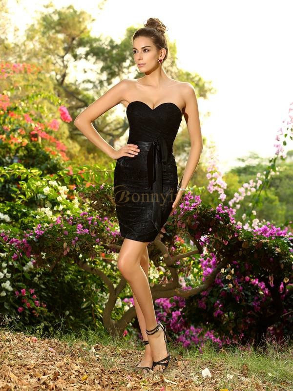 Black Chiffon Sweetheart Sheath/Column Short/Mini Bridesmaid Dresses