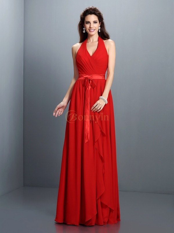 Red Chiffon Halter A-Line/Princess Floor-Length Bridesmaid Dresses