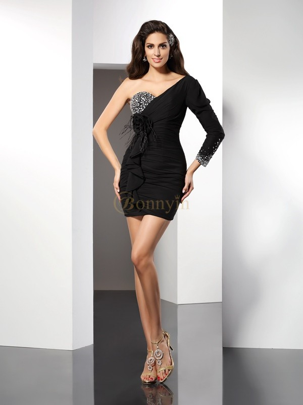 Black Chiffon One-Shoulder Sheath/Column Short/Mini Dresses