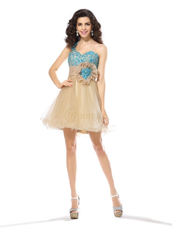 Champagne Net One-Shoulder A-Line/Princess Short/Mini Dresses
