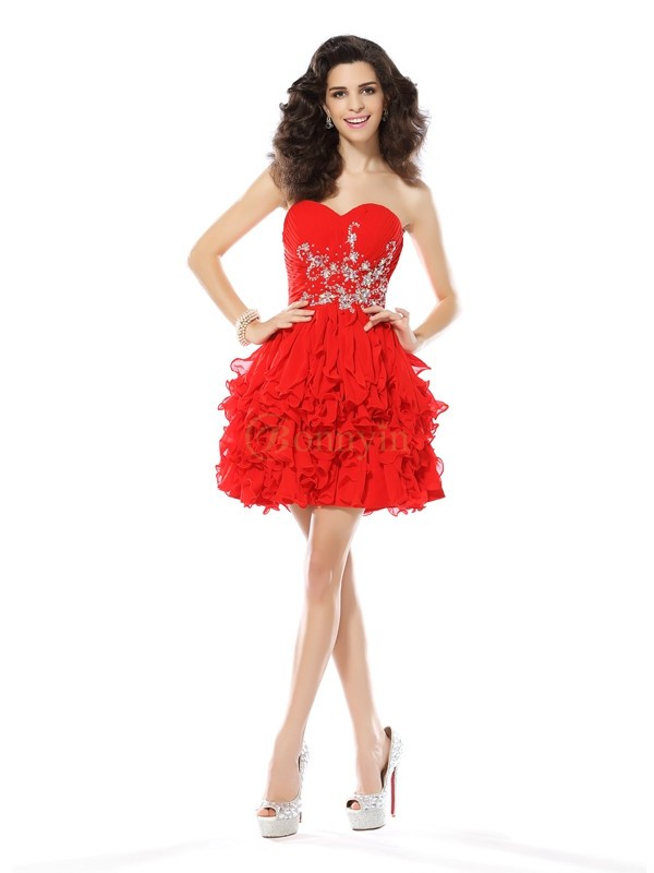 Red Chiffon Sweetheart A-Line/Princess Short/Mini Dresses