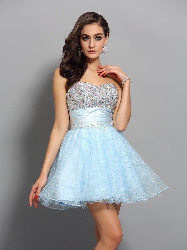Light Sky Blue Chiffon Sweetheart A-Line/Princess Short/Mini Dresses