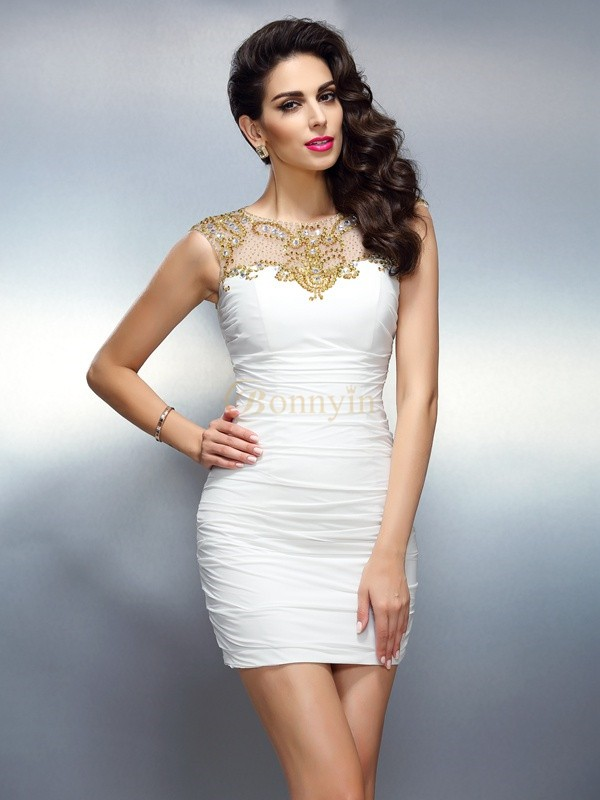 White Chiffon Bateau Sheath/Column Short/Mini Dresses