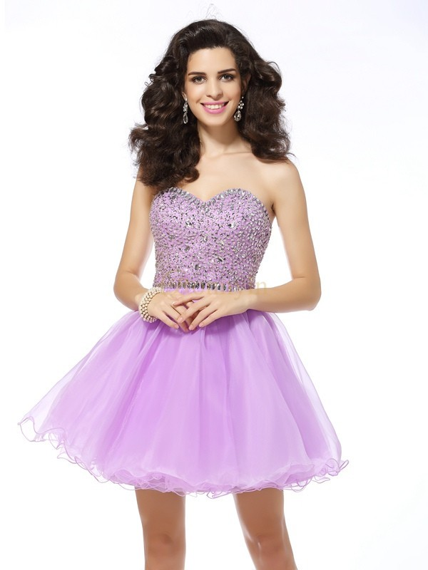 Lavender Organza Sweetheart A-Line/Princess Short/Mini Dresses