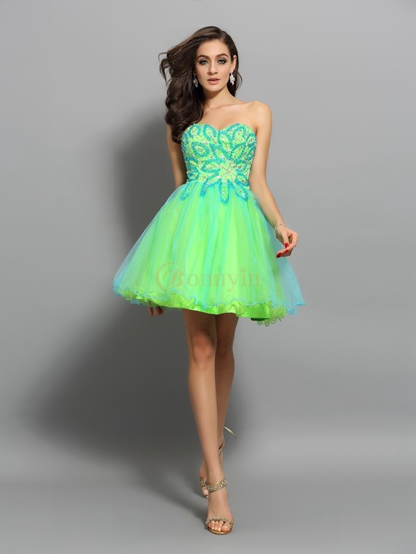 Green Net Sweetheart A-Line/Princess Short/Mini Dresses