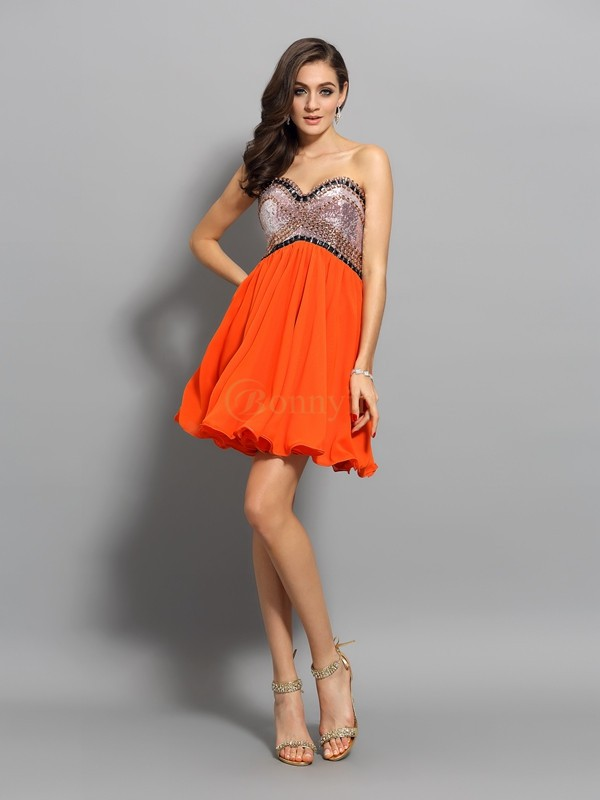 Orange Organza Sweetheart A-Line/Princess Short/Mini Dresses
