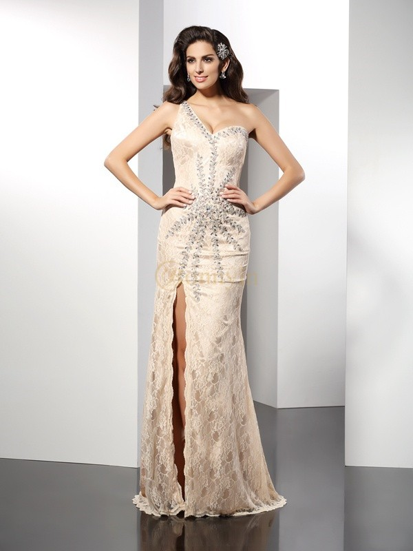 Champagne Elastic Woven Satin One-Shoulder Sheath/Column Sweep/Brush Train Dresses